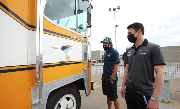 BaT Success Story: Brown, Alonso and Team in the McLaren Condor RV in the Indy 500 Paddock